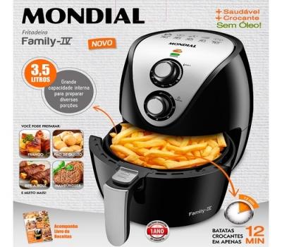 Leilão Fritadeira Elétrica Sem Óleo Air Fryer Mondial AF-30 Family IV 3,5L Preta com Timer