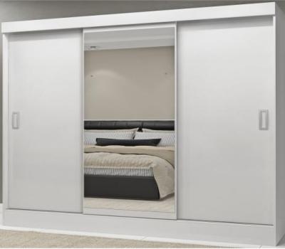 Guarda Roupa Casal com Espelho 3 Portas 2 Gavetas Istambul Espresso Móveis Branco/Carvalho