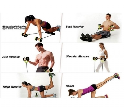 Imagem 1283 Kit Musculação Fitness Completo Academia Em Casa Revoflex Elastico Roda Abdominal Extensor