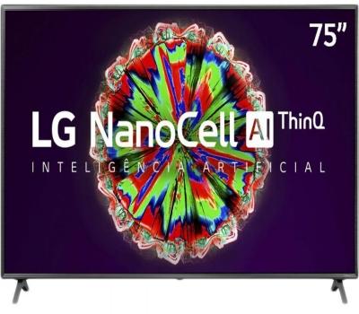 Smart TV LG 75 Pol. 4K NanoCell 75NANO79SNA - WiFi Bluetooth HDR Inteligencia Artificial ThinQAI Google Assistente Alexa IOT