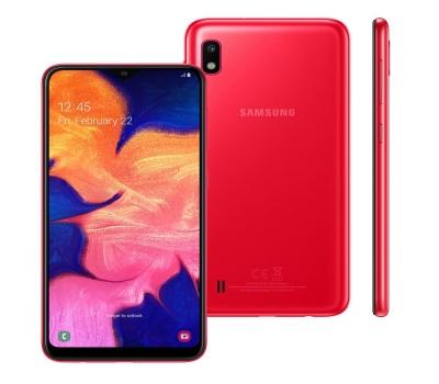 Leilão Smartphone Samsung Galaxy A10 Vermelho 32GB, Tela Infinita de 6.2``