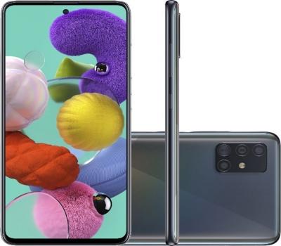 Smartphone Samsung Galaxy A51 Android Tela 6,5 Super Amoled Octa-Core 2.3 128GB 4G Câmera 48MP+12MP+5Mp - Preto